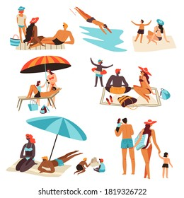 People spending holidays or weekends by seaside. Isolated characters tanning at sun laying on blanket or sitting under umbrella shade. Swimming man, walking family. Parents and kids on resort vector