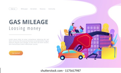 People spending money on using gas fuel cars. Gas mileage and losing money landing page. Efficient green eco friendly engine technology, violet palette. Vector illustration on background.