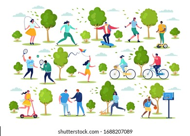 People in sport outdoor activity vector illustration. Cartoon active flat woman man characters have fun from sporting healthy lifestyle, cycling, do sport exercises in city park set isolated on white