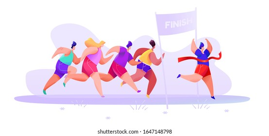 People in sportswear shorts and t-shirt finish marathon on an abstract background. Vector illustration