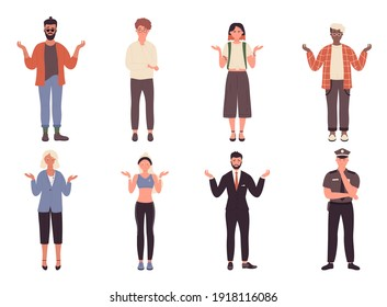 People spread hands in surprise vector illustration set. Cartoon worry sad young or old man woman characters have question, office worker or student standing with surprised face isolated on white