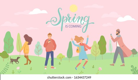 People in the spring park in different situations - playing with the dog, jumping, man with phone and hipster with coffee. Men and women in season forest. Vector illustration.