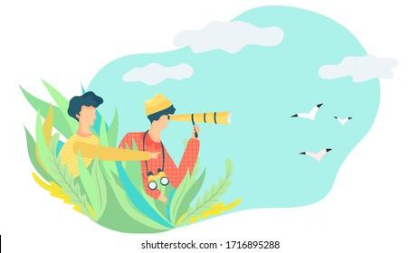 People with spyglass and binoculars watching birds, vector illustration. Birdwatching hobby, outdoor activity, explore nature. Ornithologist volunteer observing flying birds, wildlife studying outdoor