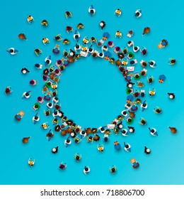 A lot of people stand in a circle on a blue background. Vector illustration