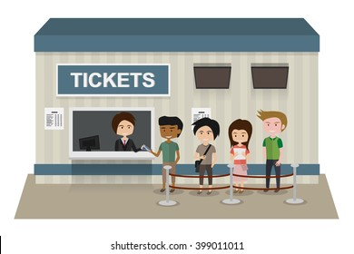 People stand in line to buy a ticket at counter. isolated vector