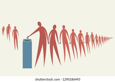 People stand in line for their turn to cast the vote. Concept for Election.