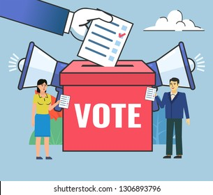 People stand near big voting box. Vote, election campaign, agitate. Business poster for presentation, social media, banner, web page. Flat design vector illustration