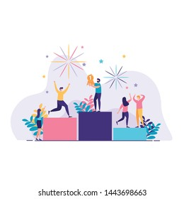 people stand on the first podium vector illustration. success people. people vector illustration. landing page illustration design