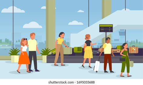 People standing in airport at baggage conveyor to take their suitcase. Baggage security scan control. Airport interior. Flat illustration