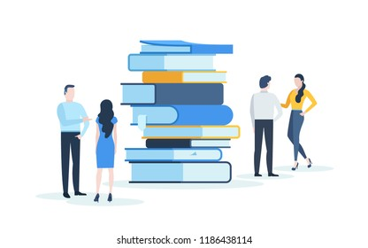 People standing behind stack of giant books and talking to each other. Concept of knowledge, academic conference, educational event, literary festival or fair. Modern flat vector illustration.