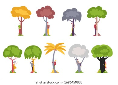 People Standing Behind Trees, Men and Women Hiding and Peeking Behind Tree Trunks Vector Illustration