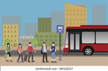 people standing at the bus stop in the city vector