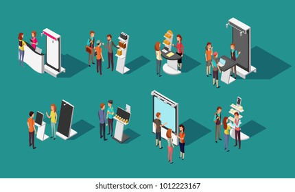 People standing at expo promotional stands vector 3d isometric set. Exhibition promotional and demonstration panel, promo desk for shop illustration