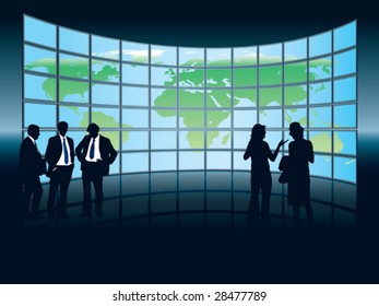 People are standing in front of a large display with world map, conceptual business illustration. The base map is from Central Intelligence Agency Web site.