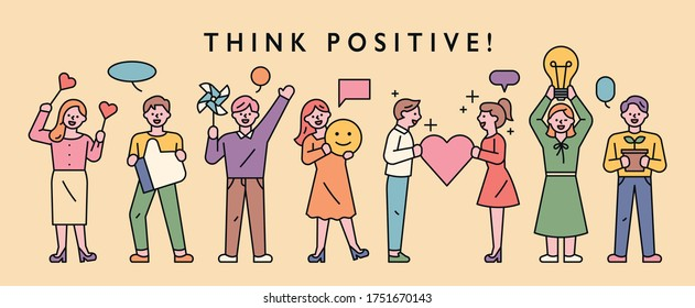People are standing in line to communicate positive thoughts and feelings to each other. flat design style minimal vector illustration.