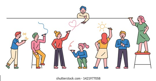 People standing in line and graffiti on the wall. flat design style minimal vector illustration