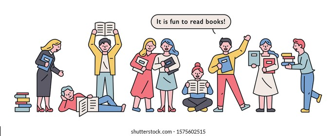 People are standing in line to read or promote books. flat design style minimal vector illustration.