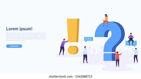 People standing near question and exclamation mark. Women and men ask questions and get answers. Online support concept.