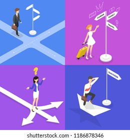 People standing on the crossroads and thinking set. Businessman choose direction of the way. Difficult choice of future strategy. Vector isometric illustration