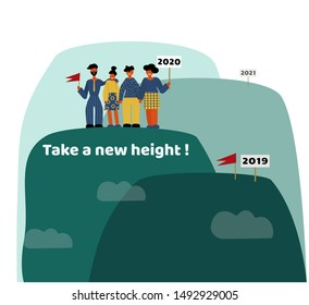 People standing on top of the mountain with the flag of the winner in 2020. Successful teamwork, new achievements. Successful new year concept, vector illustration.