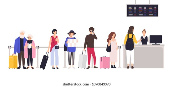 People standing in queue or line to check-in desk in order to register for flight. Men and women with baggage waiting for plane departure at airport. Colored cartoon vector illustration in flat style