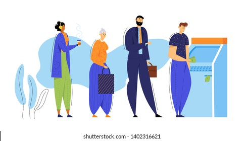 People Standing in Queue near ATM Cash Machine. Financial Transaction Concept. Cashpoint Bankomat with Characters Waiting for Salary. Vector flat illustration
