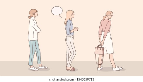 People standing In a row isolated on yellow background. Hand drawn style vector design illustrations.