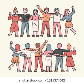People are standing side by side and rejoicing. Symmetrical front and back views. flat design style minimal vector illustration.