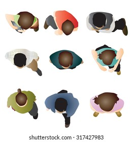 people standing top view set 5 , vector illustration
