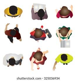 people standing top view set 7 , vector illustration
