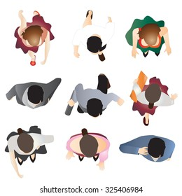 people standing top view set 9 for interior  , vector illustration