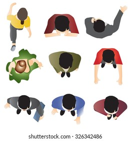 people standing top view set 10 for interior , vector illustration