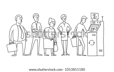 People standing and waiting in line queue ATM cash dispenser. Humans are queued. Hand drawn black line vector stock illustration.