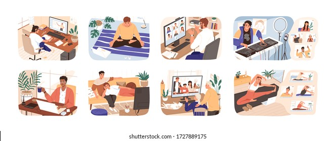 People stay at home. Men and women working, doing exercises and yoga, relax, communicate with family during quarantine. Work, leisure and hobby on isolation. Vector illustration in flat cartoon style.