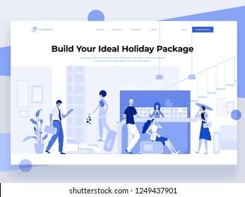 People stay at the reception and book a hotel while interacting with devices. Holiday and vacation. Flat vector illustration. Landing page template.