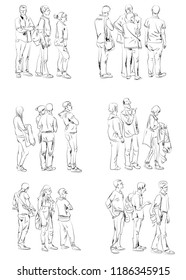 People staying in queue. Silhouettes of people, sketch