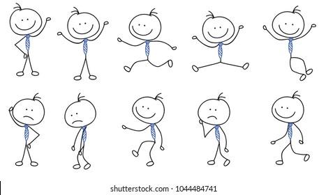 Menschen, die Sticker, Strichmännchen, handgezeichnete Skizzen mit unterschiedlichen Posen