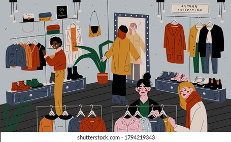 People in store choose clothes. Retail outlet