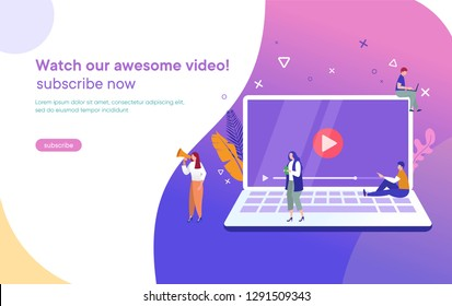 people streaming online video with their laptop, smartphone vector illustration concept, online tutorial video streaming can use for, landing page, template, ui, web, mobile app, poster, banner, flyer