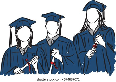 people students graduate illustration