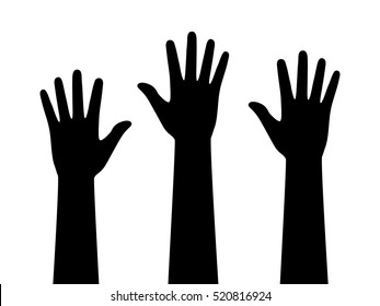People or students with their hands raised flat vector icon for apps and websites