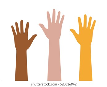People or students with their hands raised flat vector color icon for apps and websites