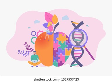 People study genetically modified foods, genetically modified foods, the concept of genetically engineered foods. Bioengineering, biotechnology. Nutritional supplements.
