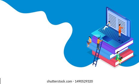 People studying or preparing online from laptop for E-Book or E- Learning concept based isometric design. Can be used as web banner or poster design.