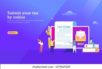 People submit tax by online vector illustration concept, online tax payment and report, can use for, landing page, template, ui, web, mobile app, poster, banner, flyer