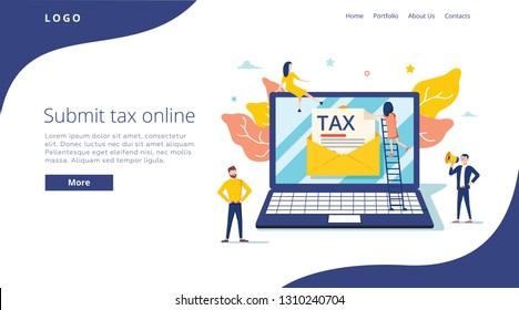 People submit tax by online vector illustration concept, online tax payment and report, can use for, landing page template, ui web and mobile app. Poster, banner or flyer. Online banking and finance