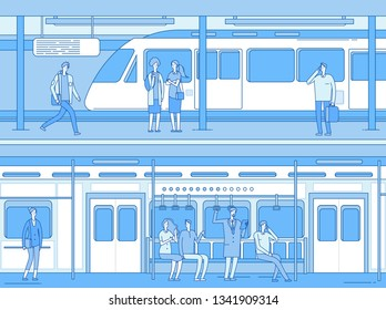 People in subway. Man woman waiting train metro platform station. Persons in train interior. Underground transportation vector concept