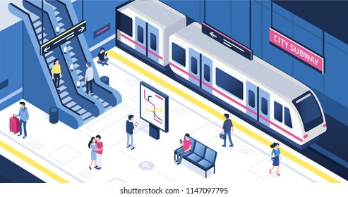 People at subway station. Can use for web banner, infographics, hero images. Flat isometric vector illustration isolated on white background.