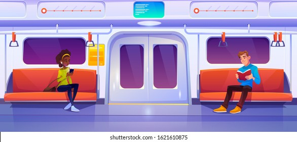 People in subway train car. Woman with phone and man with book in metro wagon. Vector cartoon illustration of underground railway carriage with sitting passengers