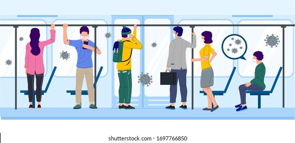 People in subway train using city transportation during corona virus pandemic, vector flat illustration. Shutting down or limiting mass transit to prevent corona virus disease COVID-19 spread concept.